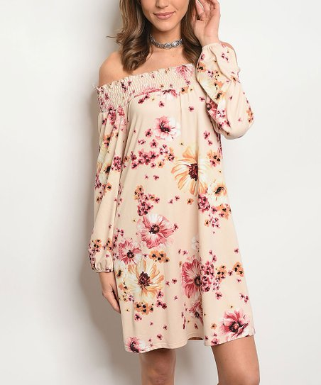 4e535db47143 love this product Peach Floral Ruffle Off-Shoulder Dress - Women