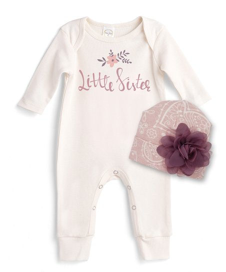 49aa2559fe2e love this product Ivory  Little Sister  Romper   Mauve Heart Garden Floral  Beanie - Newborn   Infant