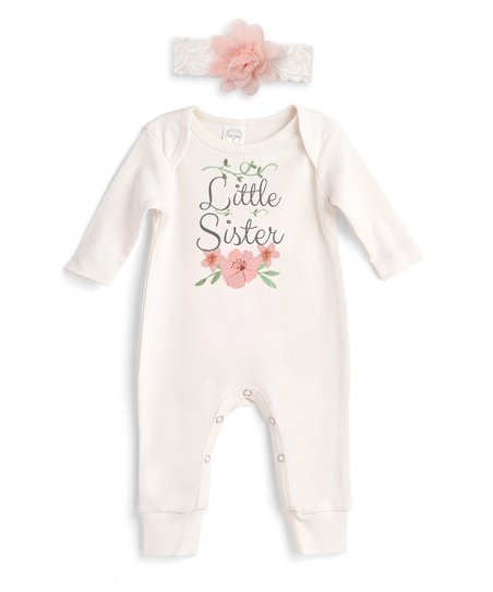 672d23b3e6ad love this product Ivory  Little Sister  Romper   Ivory Floral Headband -  Newborn   Infant