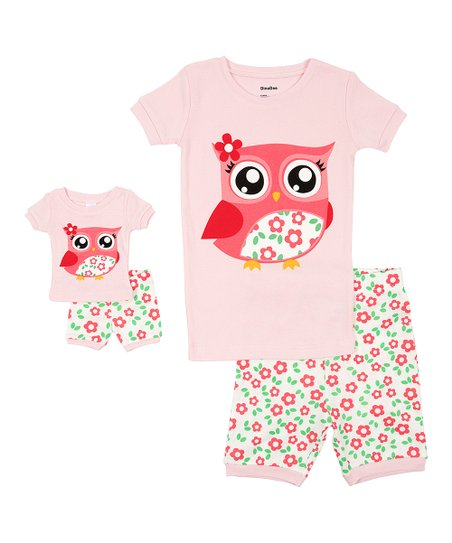 63d9043a3 DinoDee Pink Owl Pajama Set   Doll Outfit - Toddler   Girls