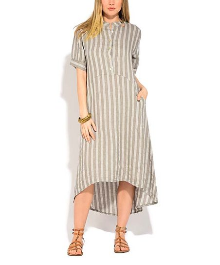 Beige Stripe Linen Midi Dress   Women