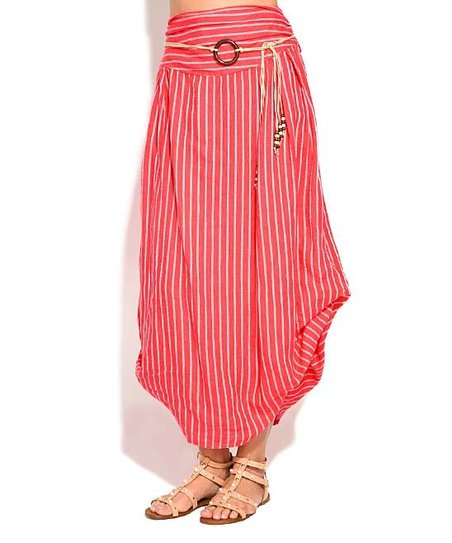 50a513f8923 love this product Pink Stripe Bubble Linen Maxi Skirt - Women