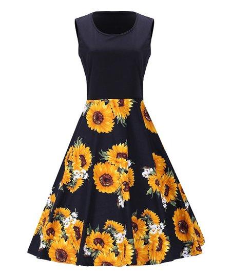 Sucrefas Navy Sunflower Sleeveless Dress - Plus Too