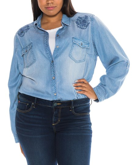 e5af04ed51 love this product Blue Alicia Button-Up - Women   Plus