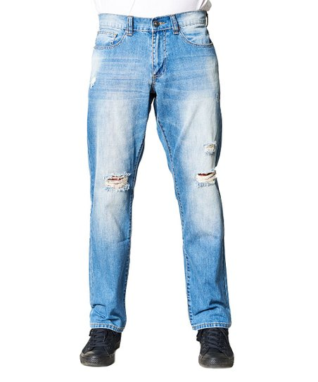 e4a364b75de Fresh Groove Light Wash Sandblasted Distressed Relaxed-Fit Jeans ...