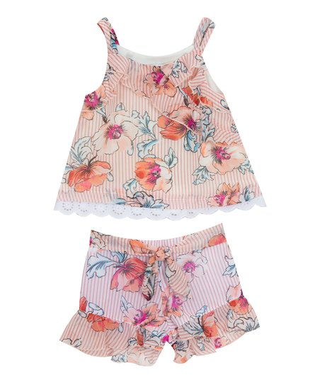e6e6493535 love this product Coral Stripe Floral Ruffle-Trim Tank & Shorts - Toddler