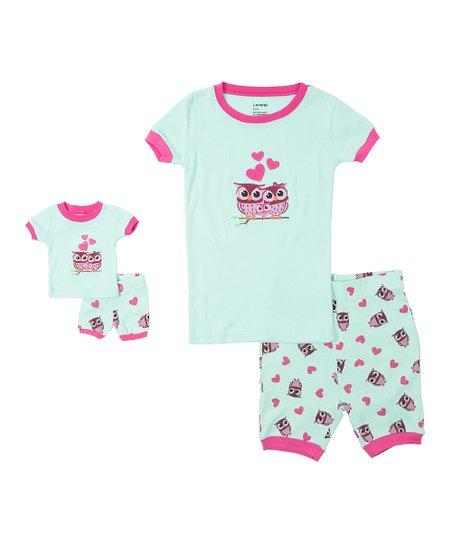 edba6d64f5f6 Leveret Blue   Pink Owl Pajama Set   Doll Outfit - Toddler   Kids ...