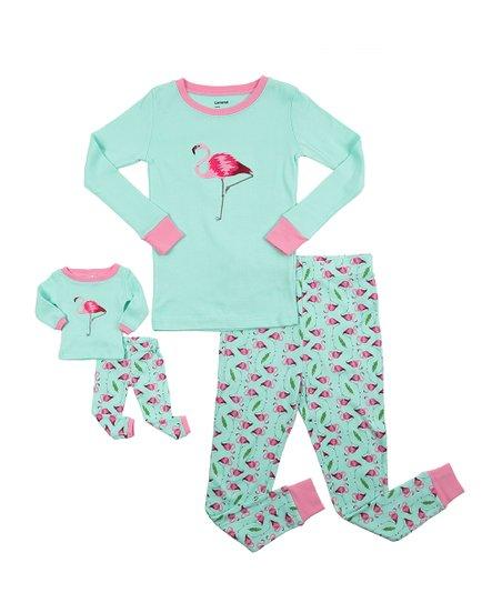 Aqua & Pink Flamingo Long-Sleeve Pajama Set & Doll Outfit - Toddler & Girls