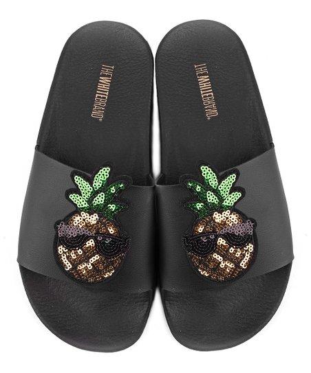 028ea8b1b39e The White Brand Black Pineapple Slide - Women