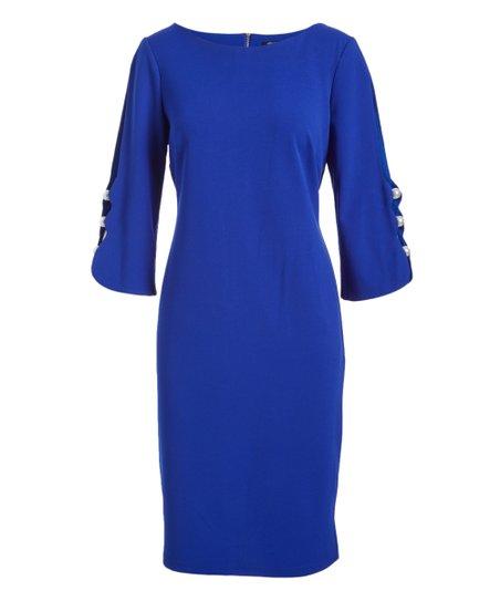 e19220dc Allen Kay Royal Blue Sheath Dress - Women | Zulily
