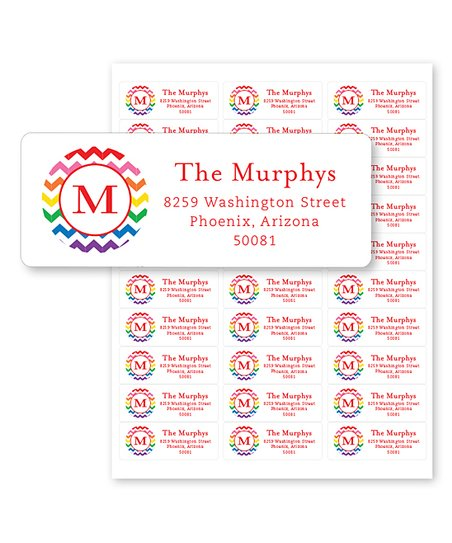chickabug rainbow initial personalized address labels set of 60