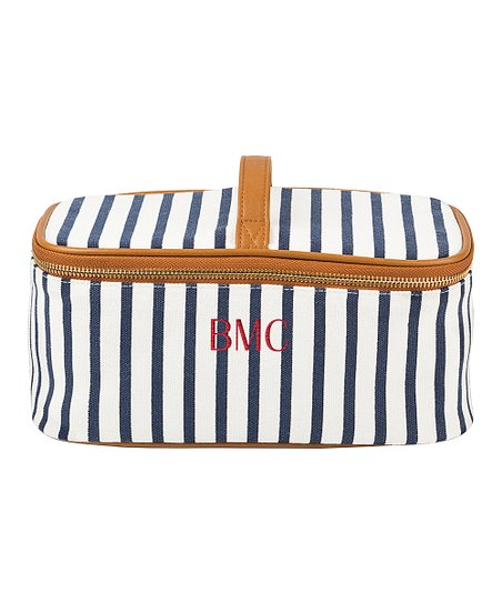 love this product Ivory   Navy Stripe Monogram Cosmetic Case 3259508aaa9ac