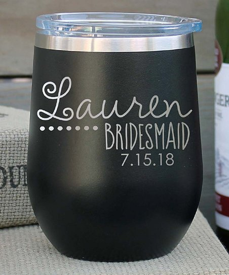 Etchey Cursive Personalized Wine Tumbler