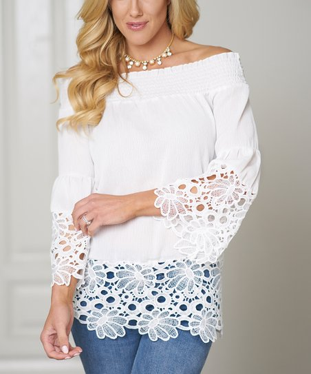 5af4a7e2664 God Shield White Lace-Trim Bell-Sleeve Off-Shoulder Top - Plus | Zulily