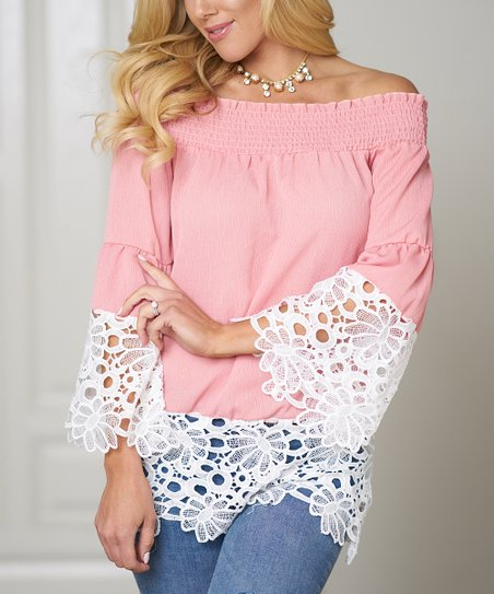 738aa219a8201 love this product Pink Lace-Trim Bell-Sleeve Off-Shoulder Top - Women