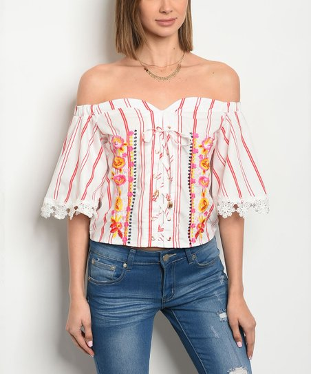 7230951007e13 love this product Off-White   Red Stripe Lace-Trim Off-Shoulder Top - Women