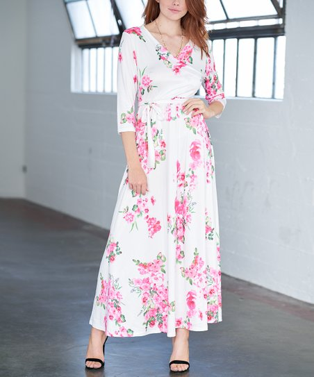 f9271e84c98e love this product White Floral Tie-Waist Maxi Dress