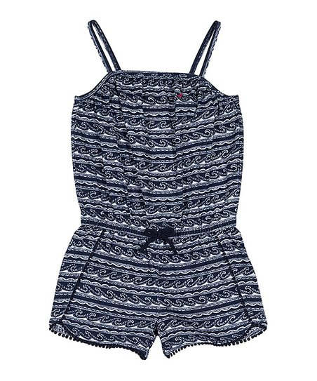 34b017c046 love this product Navy Stripe Pom-Pom Romper - Girls