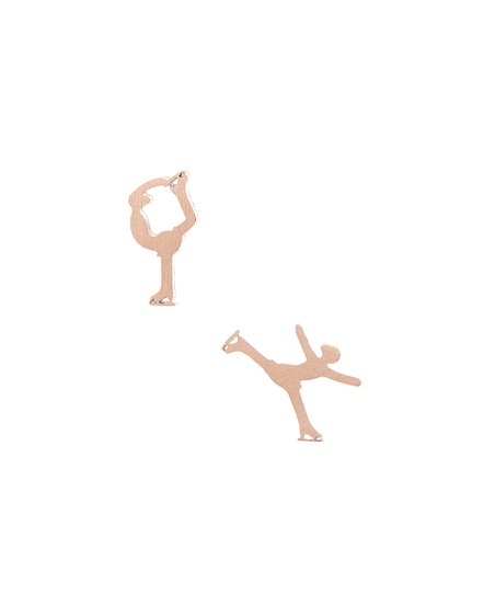 Rose Goldtone Figure Skater Stud Earrings