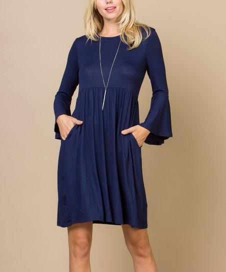 Acting Pro Navy Pocket Bell-Sleeve A-Line Dress - Women