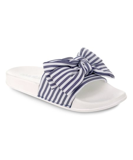 f50ed105161d Olivia Miller Navy   White Stripe Miami Pool Slide Sandals - Women ...