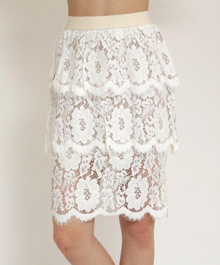 8c3e3c870 funkitribe White Tiered Lace Skirt - Women | Zulily