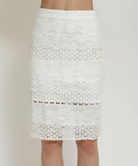 acec082ca24c0 love this product Off-White Lace Pencil Skirt - Women