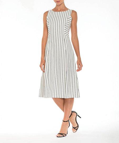 06cc299c624b45 love this product White   Black Stripe Linen-Blend Sleeveless Dress - Women
