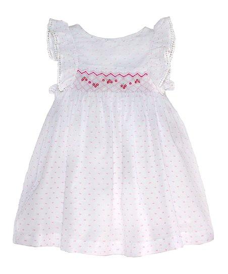 d1b7e00dca26 love this product White & Pink Plumeti Smocked Angel-Sleeve Dress - Infant,  Toddler & Girls