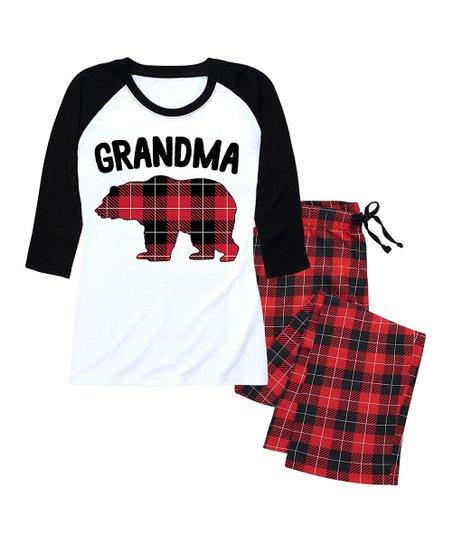 acda9ea3a Nap Chat Family Red   Black Buffalo Plaid Grandma Bear Pajama Set ...