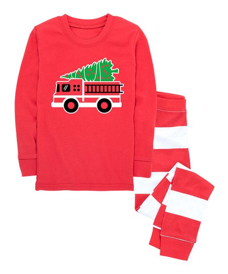 749712796 Nap Chat Family Red   White Stripe Christmas Fire Truck Pajama Set ...