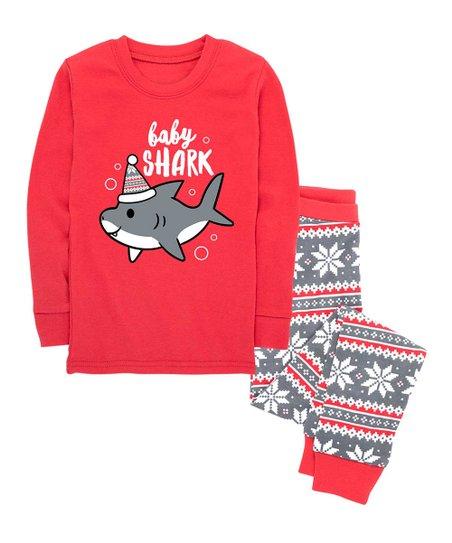 Nap Chat Family Red   Gray Fair Isle Shark Baby Pajama Set - Toddler ... 7cf052e62