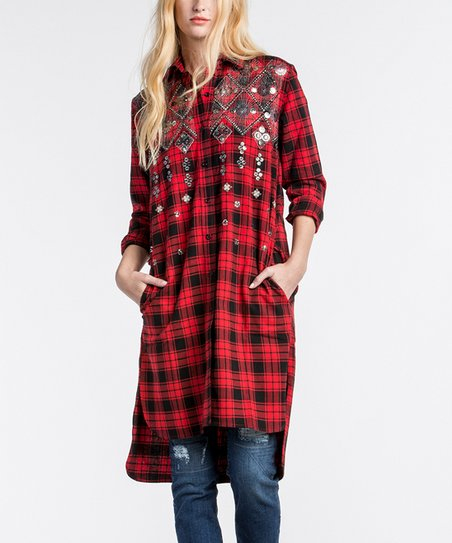 acf7d36a193 love this product Red Plaid Embellished Flannel Shirt Dress - Women