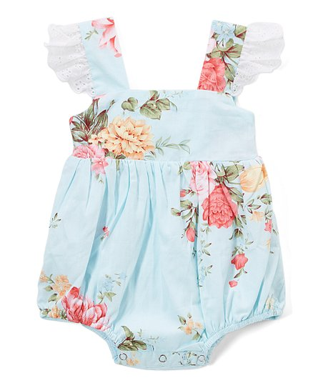 ae431d9c894 Smocked or Not Light Blue Floral Lace Angel-Sleeve Bubble Romper ...