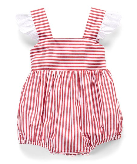 16beb44e6 Smocked or Not Red   White Stripe Angel-Sleeve Bubble Romper - Infant    Toddler