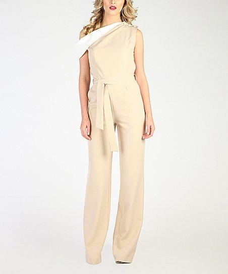 513dc02fe1c9 Carla by Rozarancio Beige   White Asymmetrical Wrap Jumpsuit - Women ...