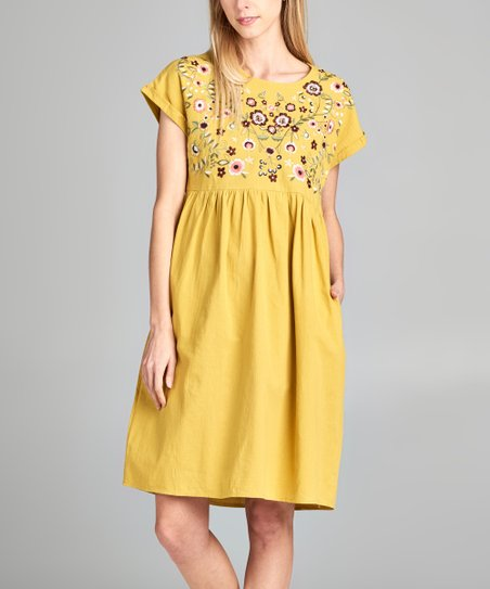 4e04414628a8 love this product Mustard Embroidered A-Line Dress - Women