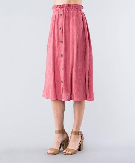 9d6bbd9937 Spicy Mix Pink Button-Up Midi Skirt - Women   Zulily