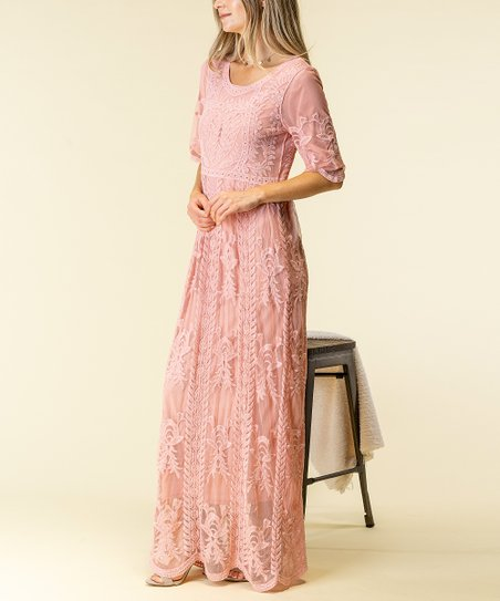 6a2e47aed316 Spicy Mix Mauve Lace-Overlay Maxi Dress - Women | Zulily