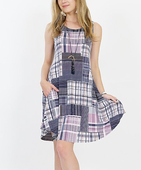 117d5bbf67f love this product Pink   Gray Madras Side-Pocket Sleeveless Swing Tunic -  Plus