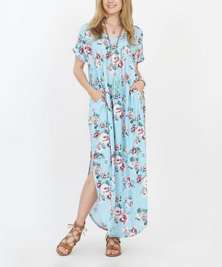 470d7a2979 42POPS Light Blue Floral Side-Slit Maxi Dress - Women | Zulily