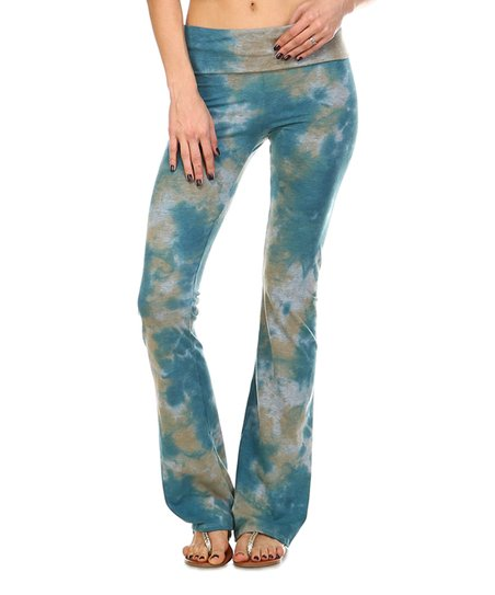 5c34a0f73d666 love this product Teal & Taupe Abstract Yoga Pants - Women