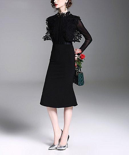 cc355fac58c Coeur de Vague Black Lace-Accent Midi Dress - Women