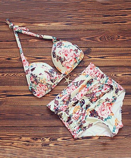 e0f9f169ed Coeur de Vague Beige Floral High-Waist Halter Bikini Top   Bottoms