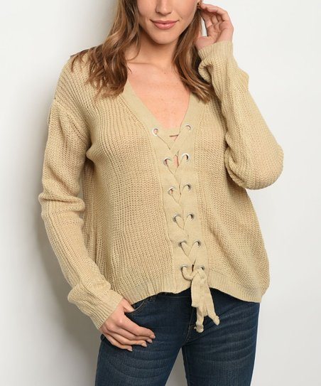 27a16590629 love this product Beige Front Lace-Up Sweater - Women