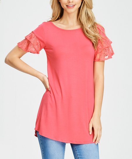 64e8502711 Cool Melon Coral Lace Ruffle-Sleeve Scoop Neck Top - Plus