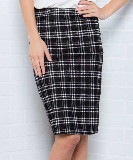 4ac35baa9 Acting Pro Black Plaid Pencil Skirt - Women | Zulily