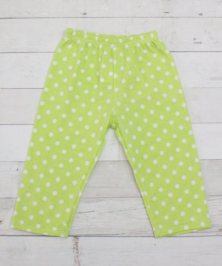 1ba53a544827c love this product Lime & White Polka Dot Capri Leggings - Infant, Toddler &  Girls