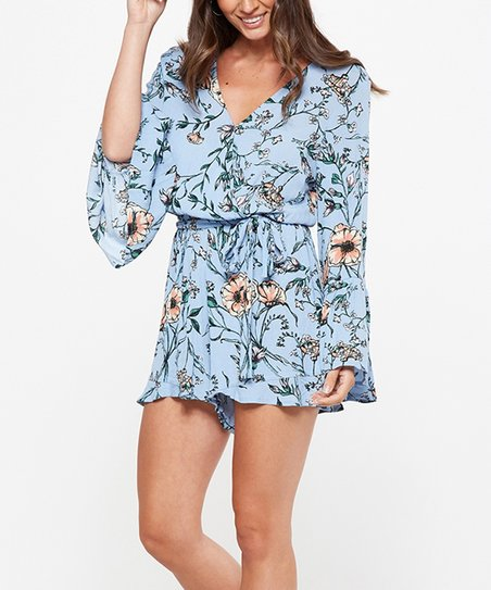 attractivedesigns drop shipping 2020 Cotton On Powder Blue Felicity Floral Hanna Romper - Juniors