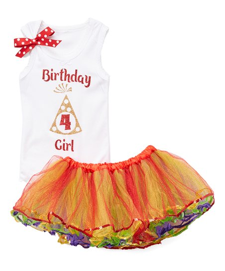 Red Rainbow Party Hat Birthday Girl Personalized Tank Tutu